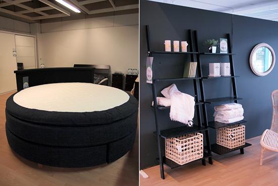Pyöreä sänky ja hyllytikkaat